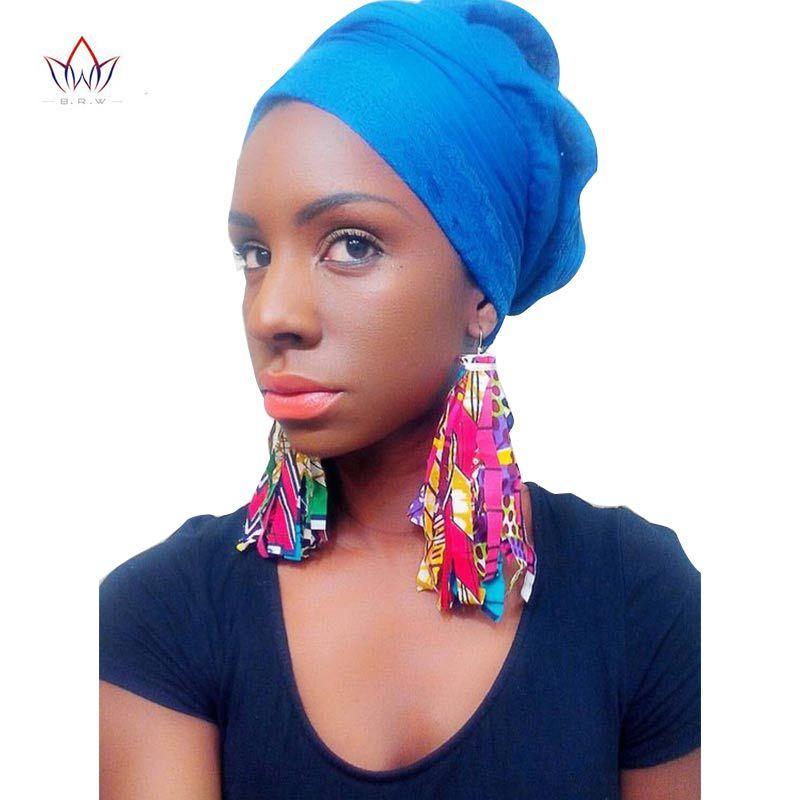 BRW 2019 boucles d'oreilles africaines en tissu pour femmes bijoux faits à la main boucles d'oreilles Ankara avec gland ethnique africain imprimer boucles d'oreilles WYB29