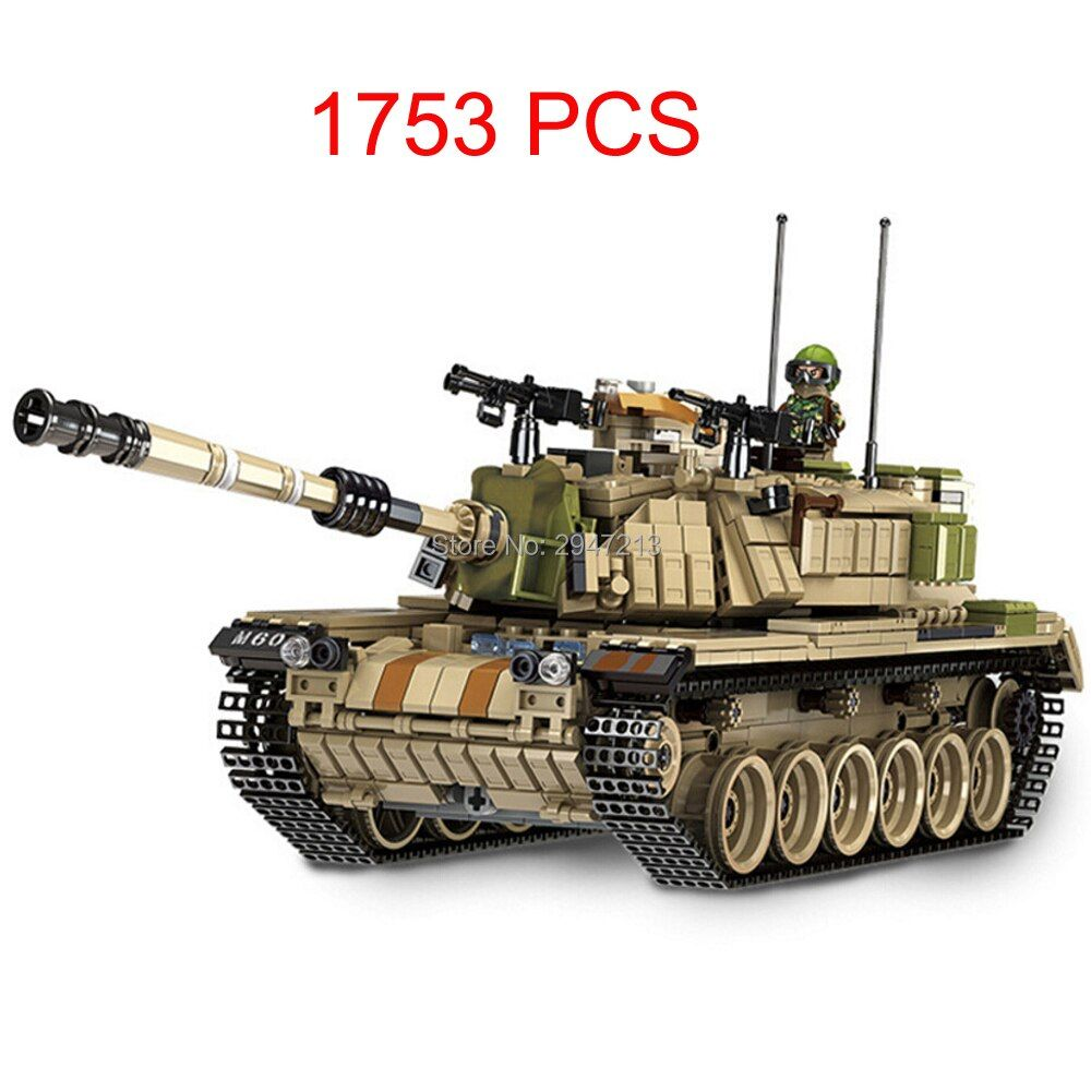 compatible LegoINGlys military WW2 army war Building Blocks MK60 Heavy tank model mini soldier figures brick educational toys