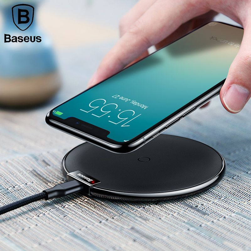 Baseus <font><b>Leather</b></font> Wireless Charger For iPhone X 8/8P Samsung Galaxy S9 S9+ Note 9 8 Fast wireless charger QI Wireless Charging Pad