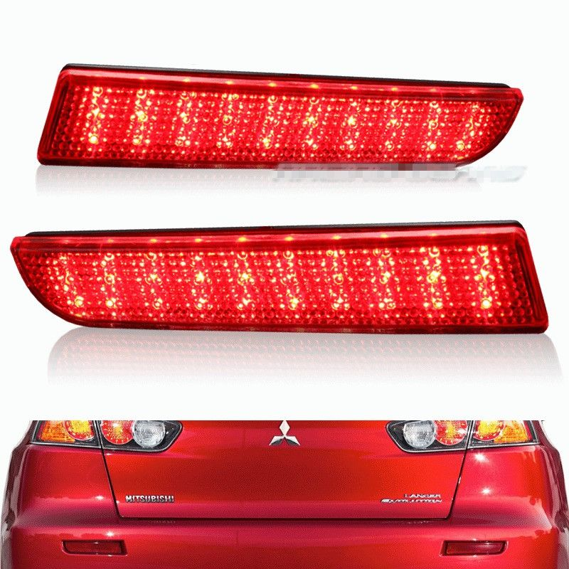 CYAN SOIL BAY For 2008-2014 Mitsubishi Lancer Red Lens LED Rear Bumper Reflector <font><b>Brake</b></font> Light Lamp EVO Evolution Outlander Sport