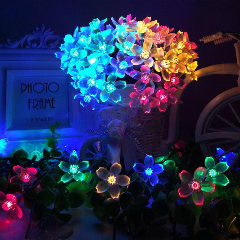 Solaire Lampes LED Chaîne Lumières 7 m 50LED 22 m 12 m Avec Cerise Fleurs Guirlande De Noël Pour Le Mariage Jardin partie En Plein Air Club
