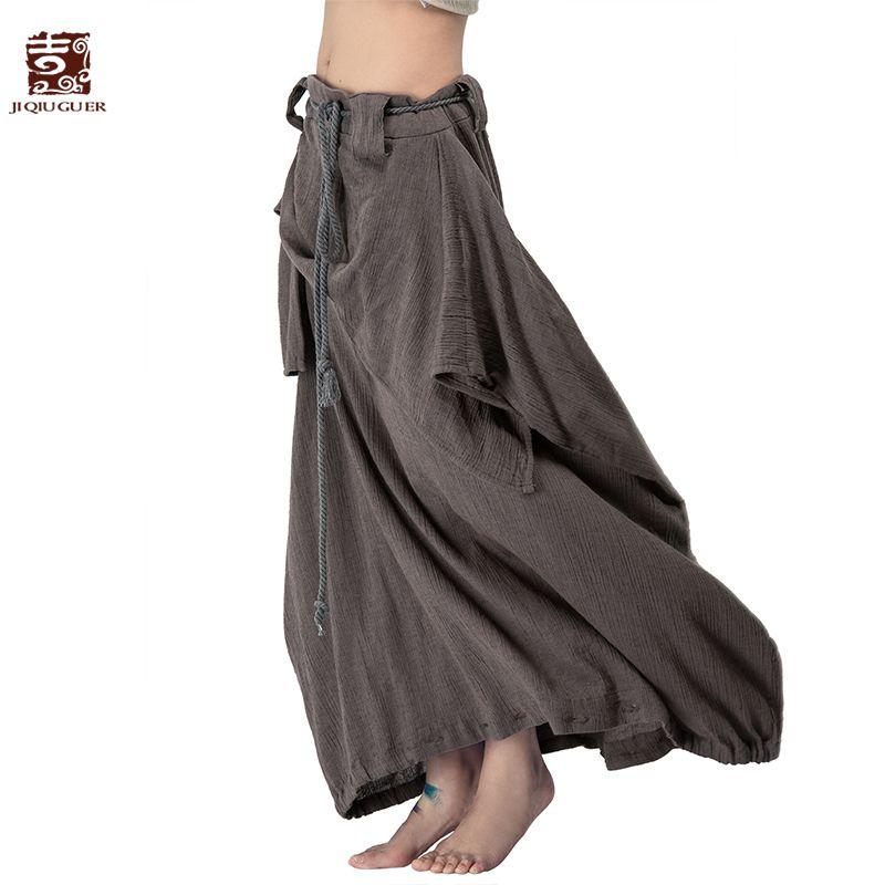 Jiqiuguer Femmes Coton Lin Harem Pantalon Vintage Plus La Taille Solide Cordon Zipper Lâche Long Automne Pantalon Jupes L142K008