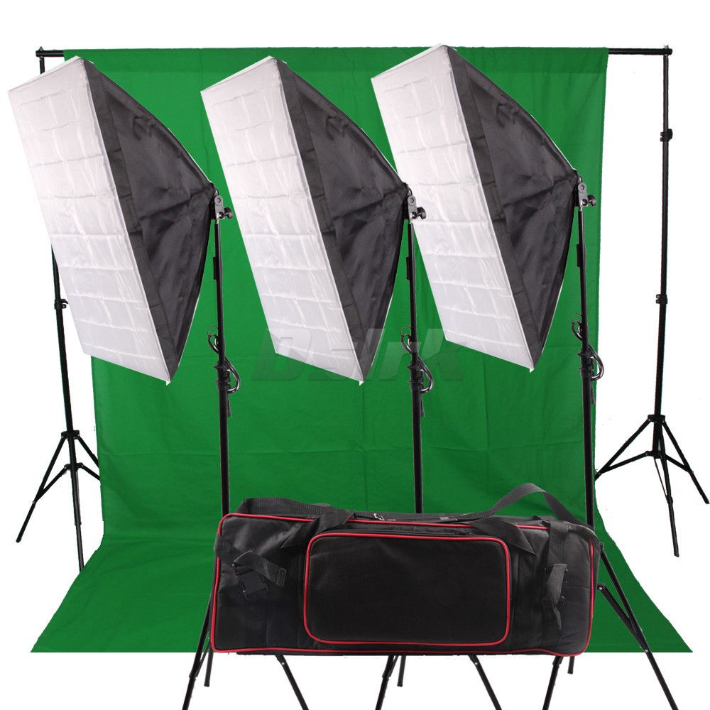 Photography Backdrop Softbox Lighting Kit with 4 Socket Lamp Holder 4pcs 2M Light Stand Background Stand Holder Cloth Carry Bag