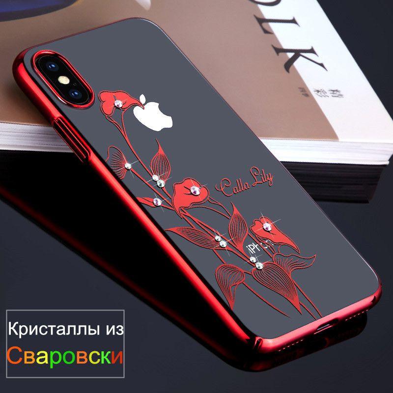 KINGXBAR for iPhone X 10 Case Swarovski Element Crystals Diamond Rhinestone Luxury Hard Case for iPhone X Cover Phone Coque Capa