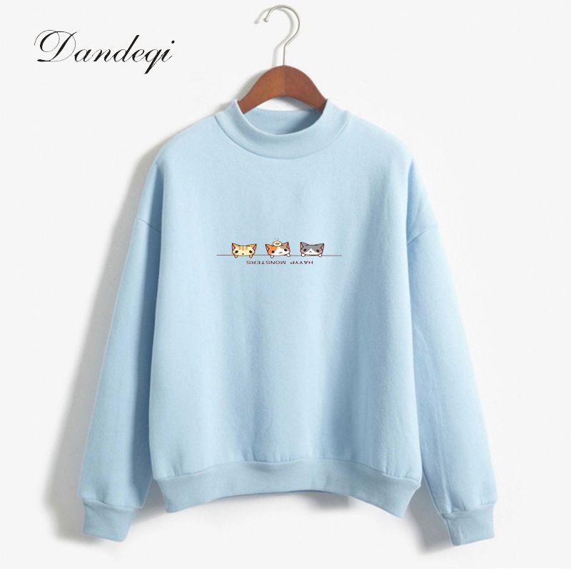 2018 Autumn <font><b>Fleece</b></font> Hoodies Women Candy Color Long Sleeve Casual Thicken Sweatshirts Women Harajuku Outwear Drop Shipping