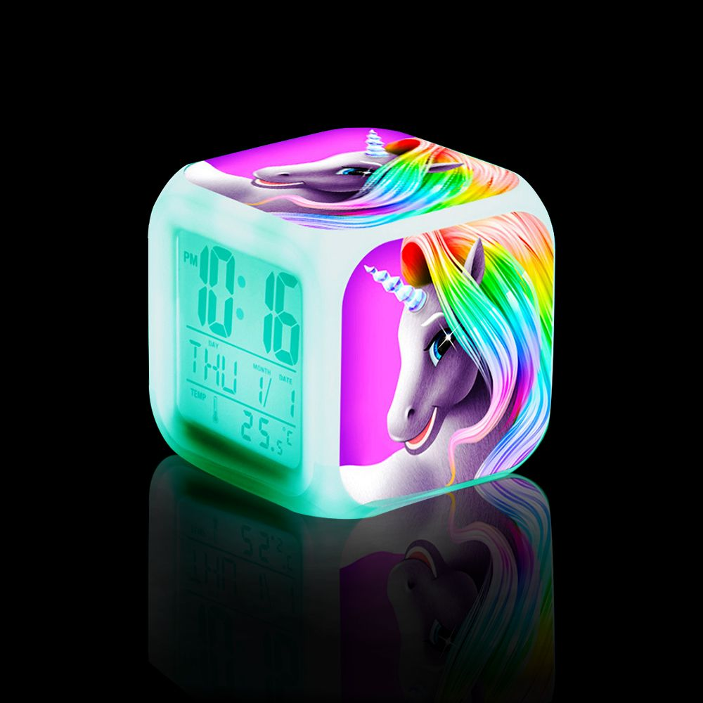 Children Kids Cartoon Unicorn Digital Alarm Clock Multifunctional 7 Color Changing Led Room Cube Clocks Data Week Temperature