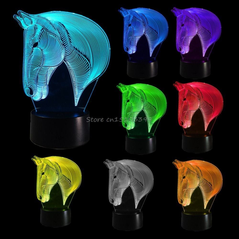 Horse Bedroom 3D Illusion LED Night Light <font><b>Changing</b></font> Color Touch Table Lamp Desk G08 Drop ship