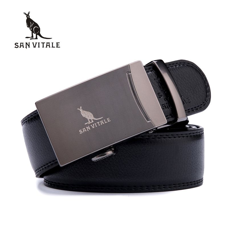 SAN VITALE Men Belts Genuine Leather Luxury Strap Male Belt for Man Buckle Fancy Vintage Jeans Cintos <font><b>Masculinos</b></font> Ceinture Homme