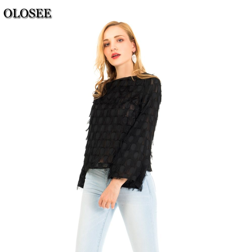 Olosee Tassel Chiffon Women's Blouse Flare Sleeve Long 2018 New Fashion Round Neck Elegant Female Loose Style in High Quality