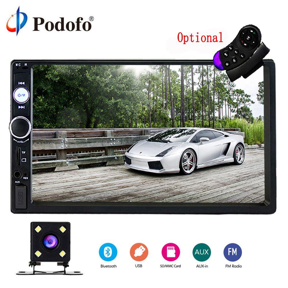 Podofo 2 Din Autoradio 7 Bluetooth stéréo lecteur multimédia Autoradio MP3 MP5 écran tactile Auto Radio Support caméra de recul