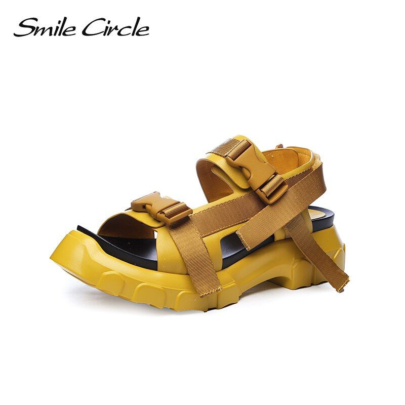 Smile Circle 2018 Summer Style Casual Sandals For Women Shoes Fashion Flat Thick bottom Shoes women Open Toes Sandals slipper