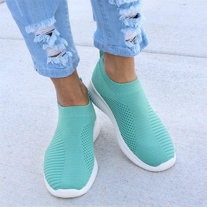 Femmes Sneaker Air Mesh doux femme tricoté chaussures vulcanisées décontracté sans lacet dames chaussures plates marche chaussures drop Shipping