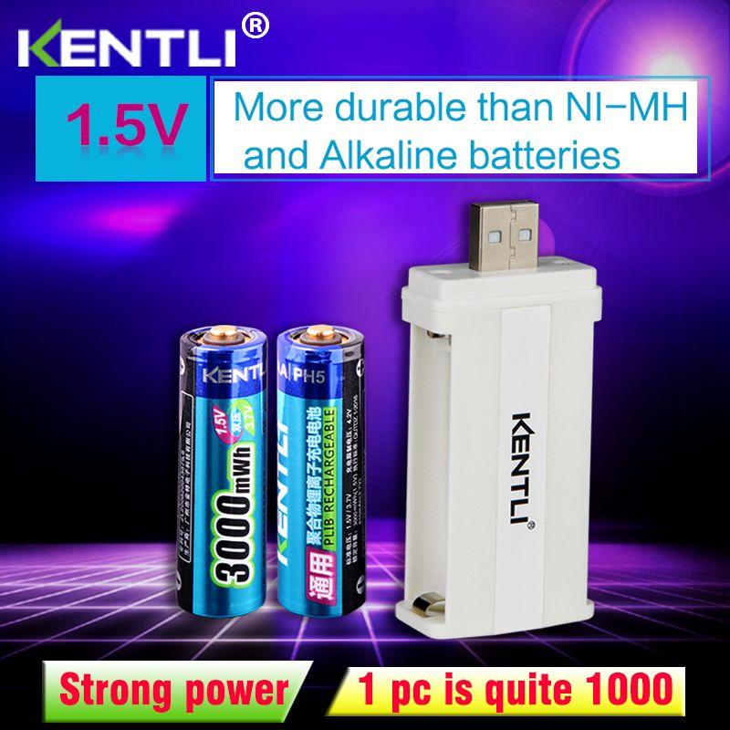 2 pièces KENTLI 1.5 v 3000mWh li-polymère li-ion lithium rechargeable AA batterie + 2 emplacements CU57 chargeur