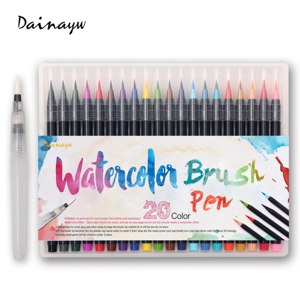 20pcs Colors Brush Pen Sketch Drawing Watercolor Marker Set Calligraphy Pen For School Children Painting Manga Brush Stationery