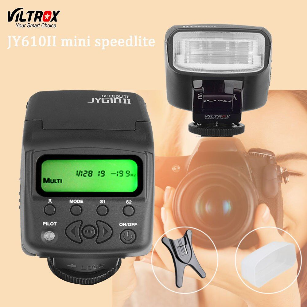 Viltrox JY610II Mini LCD Universal Flash Speedlite for Sony A7 A7R NEX6 A6300 A3000 Canon Nikon Olympus Camera