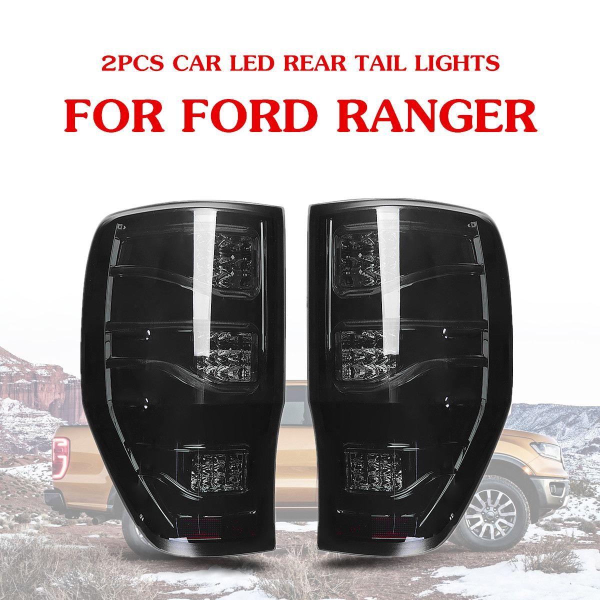 Autoleader 2 Pcs Smoked Auto Auto LED Rück Rückleuchten Brems Lampen für Ford Ranger 2012-2018 ABS Licht größe Ca. 27x43 cm