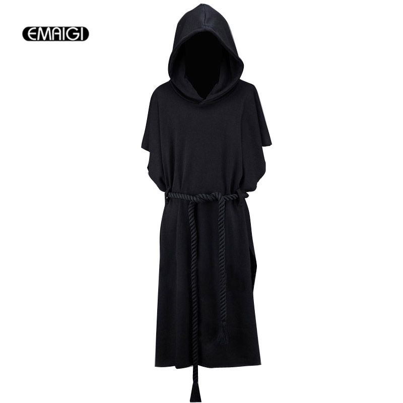 New Men Hooded Sweatshirt Coat Men Street Fashion Short Bat Sleeve Belt Loose Long Hoodie Cloak outerwear Gothic Punk Style