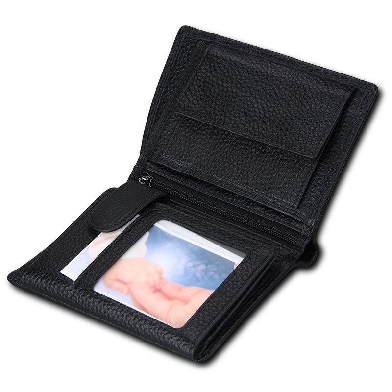 New Fashion Business Men's Short Wallets Natural Real Leather Male Cow Genuine Leather Cash Purses Clutch 3 Folder Men Wallet