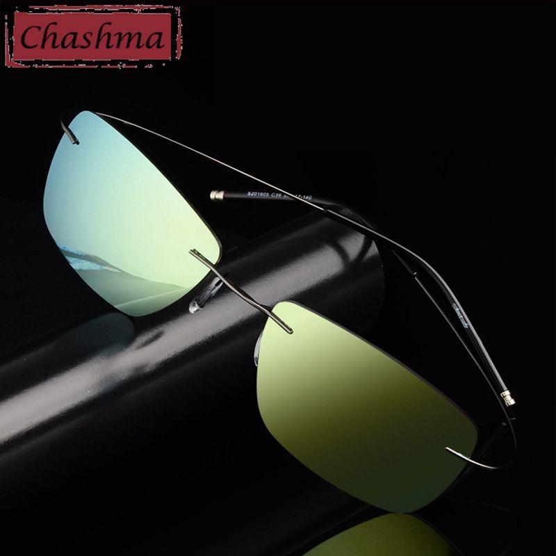 Edelstahl Steen Rezept Sonnenbrille Polarisierte Männer Spiegel Beschichtung UV 400 Objektiv Anti Glare Randlose Brille Frauen Myopie Glas