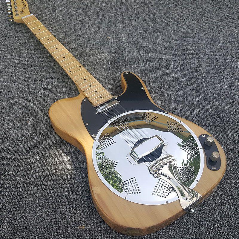 tele electric Guitar,Vintage Sunburst Dobro Resonator Steel Electric Guitar with Flame maple top, Dobro Guitarra, Real photo,hot