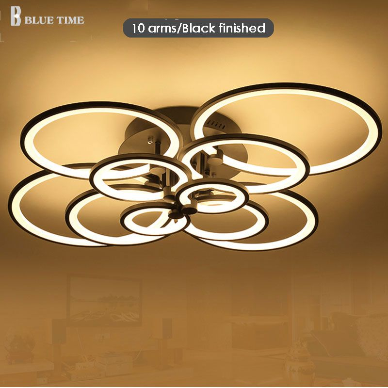 white finished black finished chandeliers LED circle modern lights for living room acrylic Lampara de techo indoor Lighting