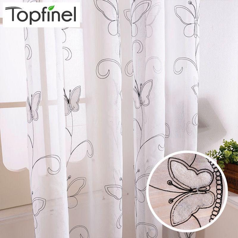 Topfinel coton lin blanc prêt à l'emploi pas cher brodé pure rideaux papillon pour salon chambre enfants chambre