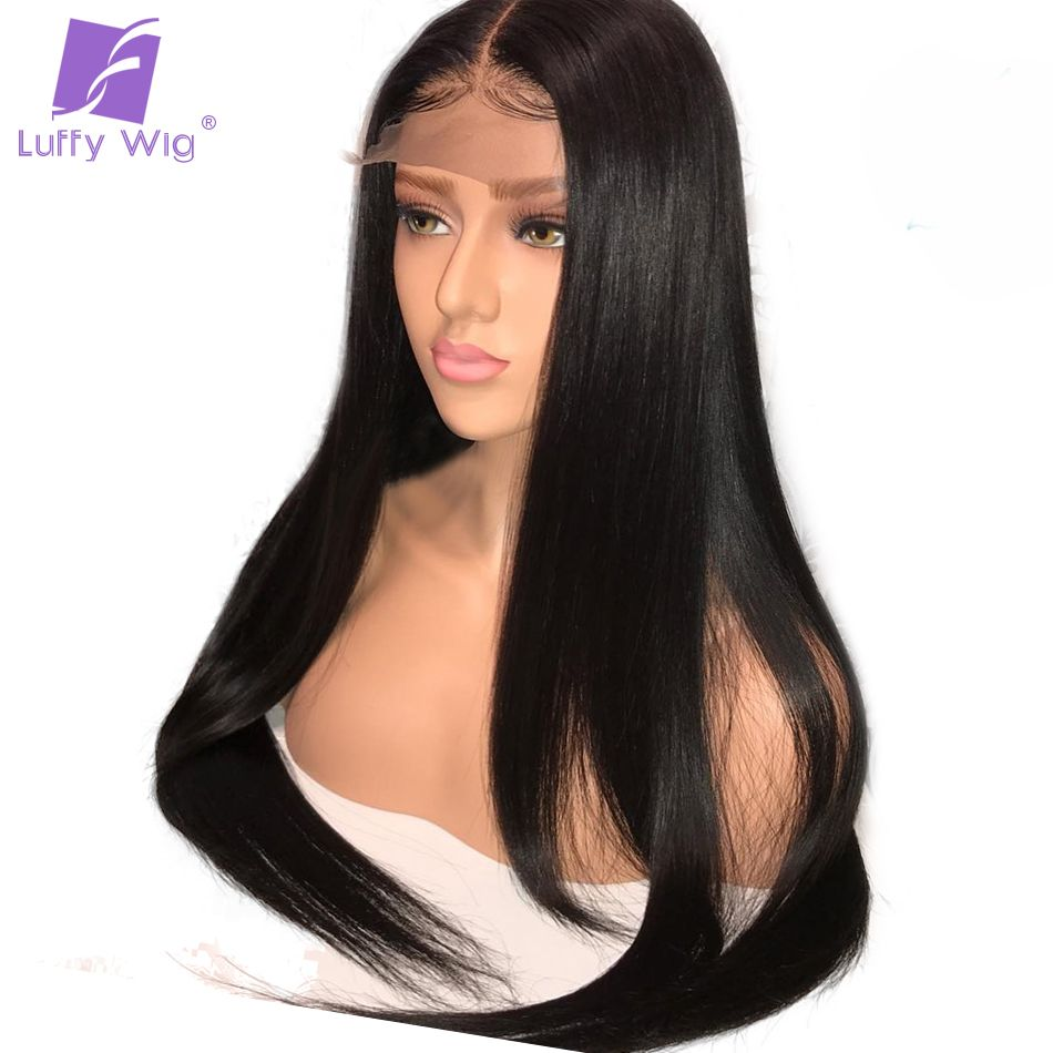 Luffy Silky Straight 5x4.5 Silk Base Full Lace Human Hair Wigs With Baby Hair Brazilian Remy Hair Pre Plucked Glueless Lace Wig