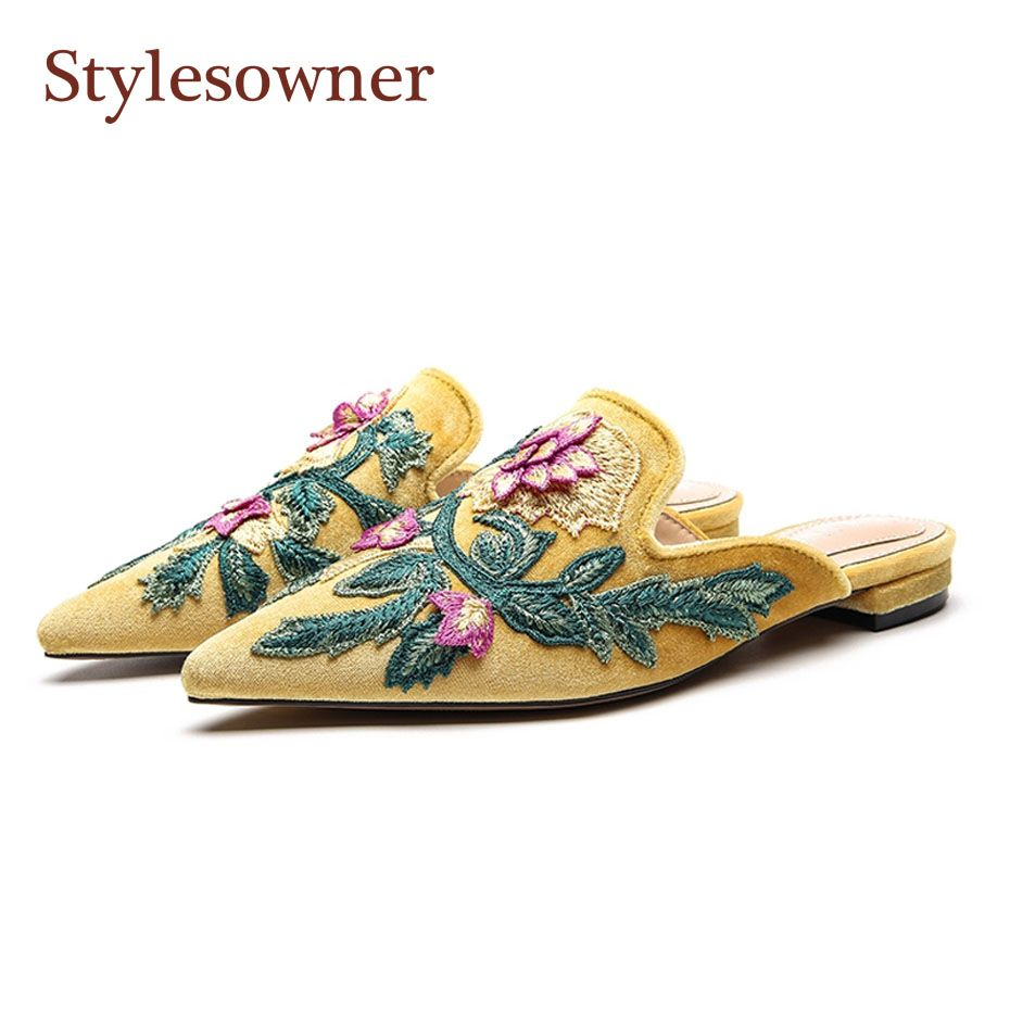 Stylesowner Beautiful Lady Floral Embroidery Pointed Toe Slipper Shoe 2018 New Coming Hot Selling Flat Lazy Loafers Mules Slides