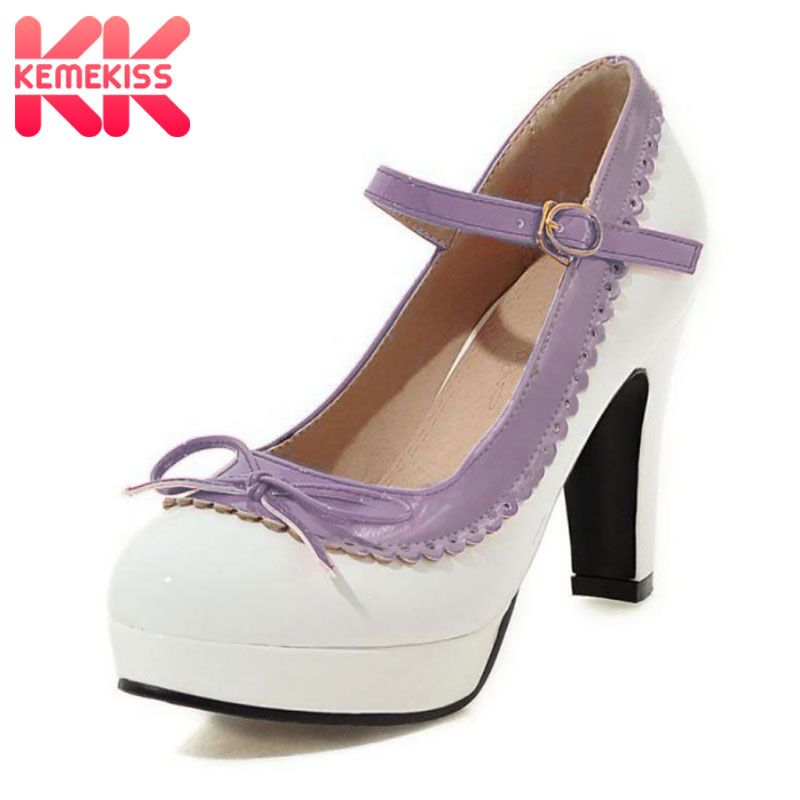 KemeKiss Size 32-48 Women High Heel Shoes Women Brand Bowtie Round Toe Heeled Pumps Ankle Strap Platform Office Lady Footwear