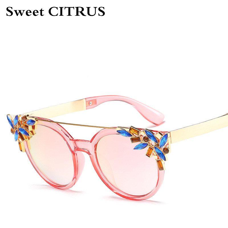 Süße CITRUS Hohe Qualität Zweiträger Katzenaugen-sonnenbrille Frauen Markendesigner Vintage Sonnenbrille Mit Diamant oculos feminino