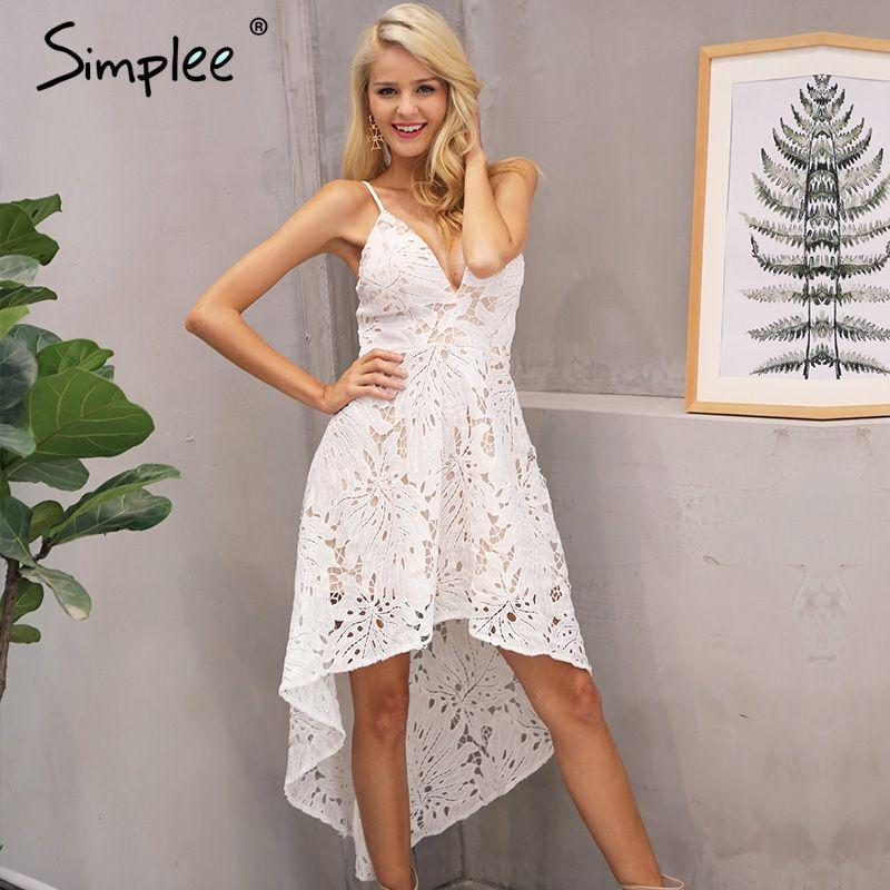Simplee Sexy backless v neck lace dress women Casual straps high waist irregular summer dress 2017 party beach dress robe femme