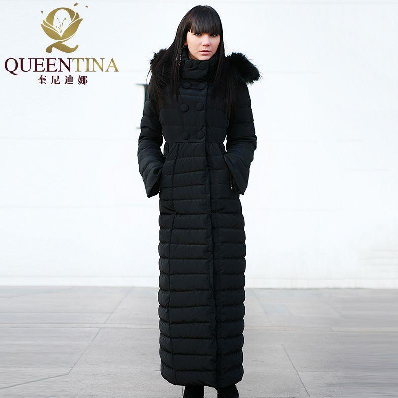 Women Winter Down Coats Hooded 2018 New Luxury Real Raccoon Fur Hat Down Jacket&Coat Girls X-Long Jacket Parka Black with Hood