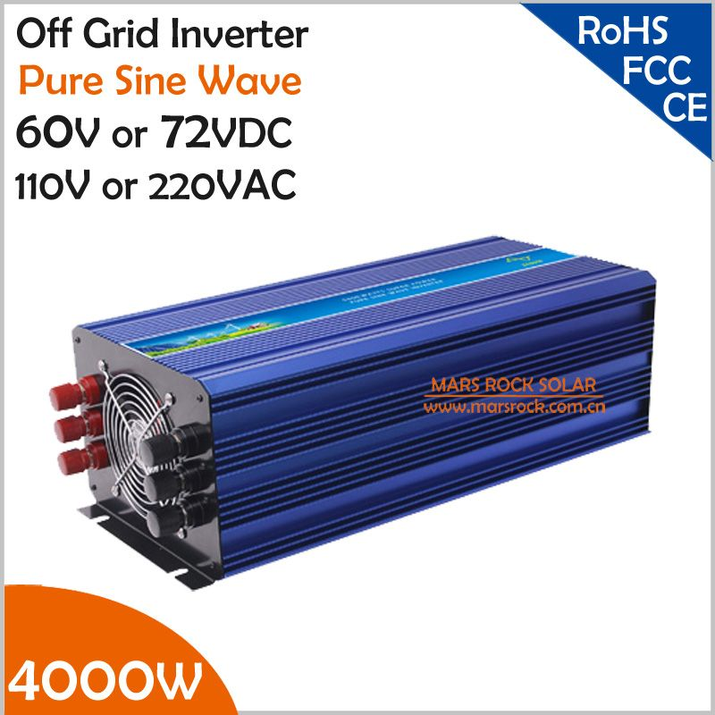 4000W 60V/72VDC 110VAC/220VAC Off grid pure sine wave inverter applied in solar or wind power system, surge power 8000W