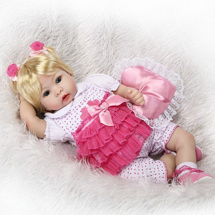 55cm Silicone Reborn Baby Doll Toys Simulation Vinyl Princess Dolls High-end Girls Birthday Gift Present Play House Bedtime Toy