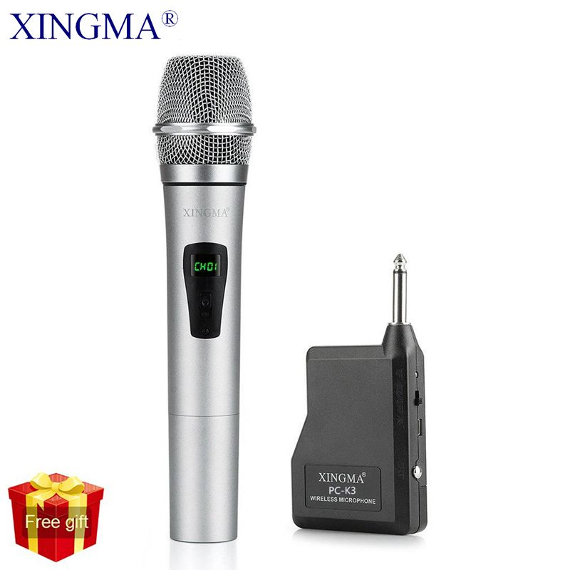 XINGMA PC-K3 Microphone sans fil professionnel dynamique VHF métal micro portatif pour karaoké ordinateur PC chantant KTV avec récepteur