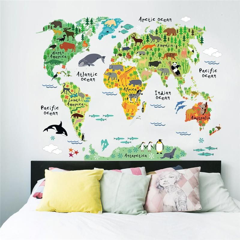Weltkarte tiere wandsticker zimmer dekorationen cartoon wand kunst zoo kinder wohnen decals poster 037. 5,0