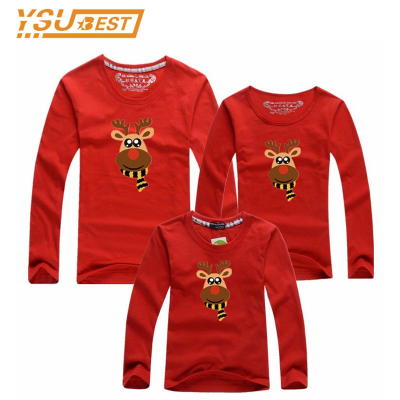 Christmas Family Look Family Clothes Long Sleeve T Shirts Fashion Father and Son Suits Milu Deer Style Mother Daughter Matching
