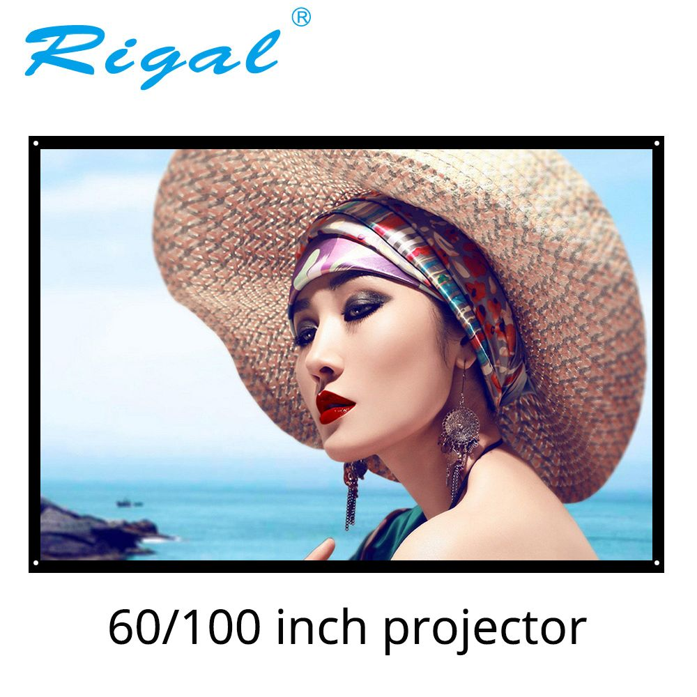 Rigal 60 100 inch 16:9 Portable Projector Screen Plastic Screen Matte White for Home Theater Trip Meeting for LED DLP Projector
