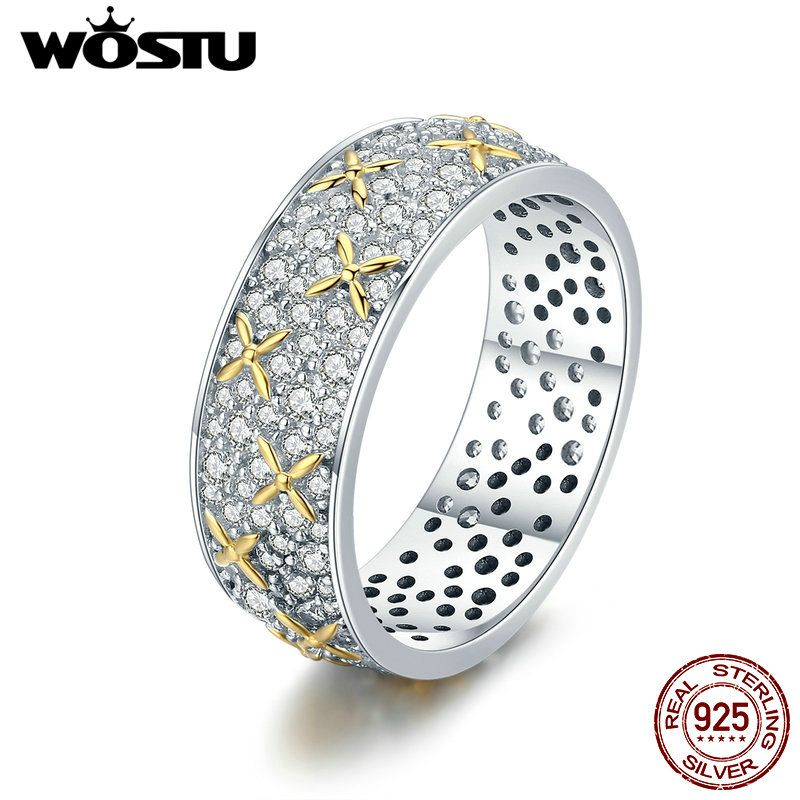 WOSTU Hot Sale Real 925 Sterling Silver Dazzling Full-Bloom Rings for Women Fashion Silver Jewelry Best Gift CQR241