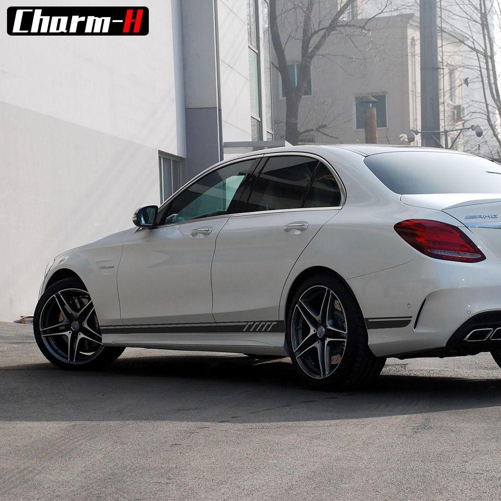 2 Unidades de Brillo/Mate/5D Negro Edición AMG C63 507 Side Stripe Adhesivos Adhesivos Para Mercedes Benz C clase W204