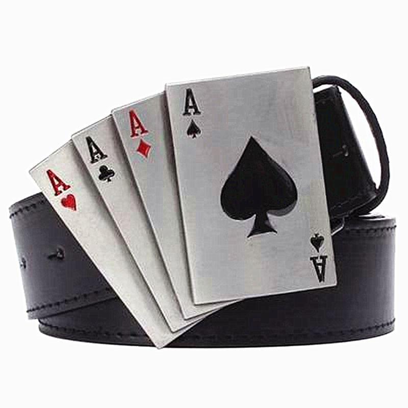 Metal punk belt rock style Lucky Poker gamble metal buckle belts lucky Playing card belt punk Hip hop decorative belt