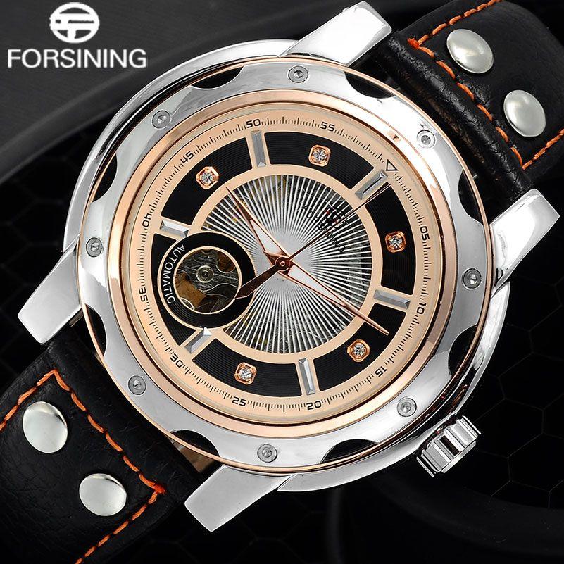 Forsining hommes de sport automatique montres hommes squelette mécanique en cuir bande montre or rose creative horloge relogio masculino