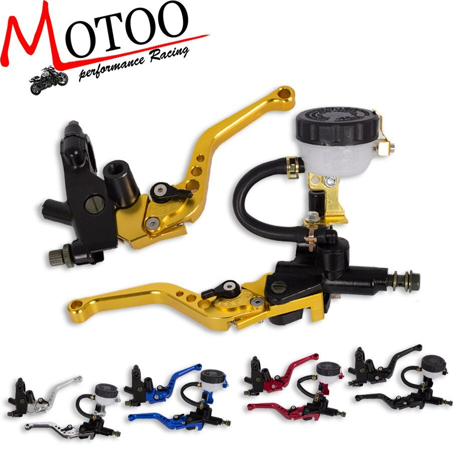 Motoo - Racing Universal CNC 22mm Motorcycle Brake Clutch Levers Master Cylinder Reservoir Set For Honda Suzuki Kawasaki Yamaha