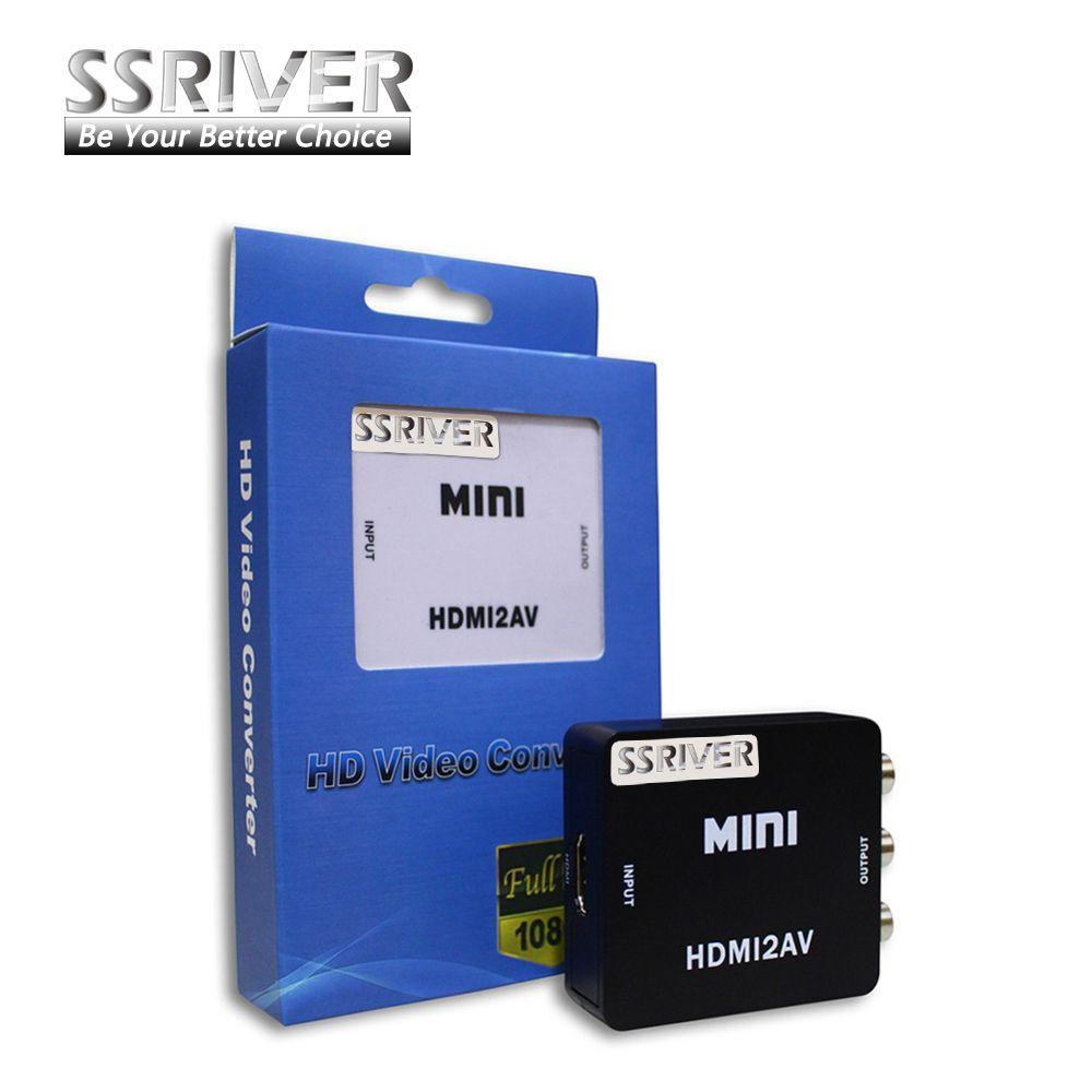 SSRIVER Mini HD Video Converter Box HDMI à RCA AV/CVSB Vidéo 480 P 720 P 1080 P HDMI2AV Soutien NTSC PAL Sortie HDMI À AV adaptateur