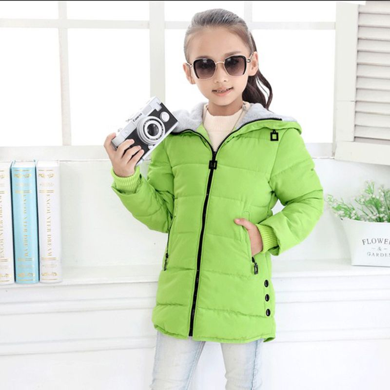 children winter jackets for girls fashion children clothing Kids Hooded Coat <font><b>Thicken</b></font> parkas down cotton-padded outerwear jacket