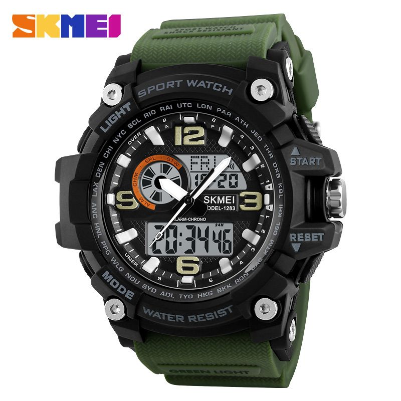 SKMEI Sports Watches Men Fashion Multi-function Chronograph Digital Quartz Dual Display Wristwatches <font><b>Relogio</b></font> Masculino XFCS