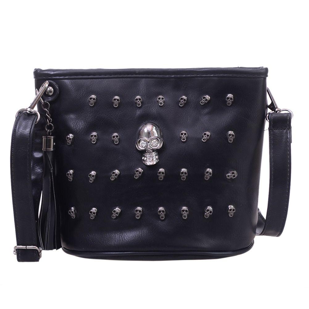 Crâne Design femmes Messenger sacs sacs à main sacs à bandoulière sacoche pochette fille noir crâne sac à bandoulière Bolsas Borse Feminina