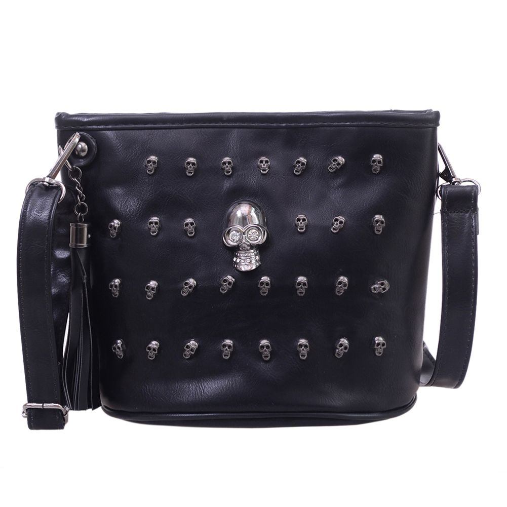 Skull Design Women Messenger Bags Handbags Shoulder Bags Satchel Clutch Girl Black Skull Crossbody Bag Bolsas Borse Feminina