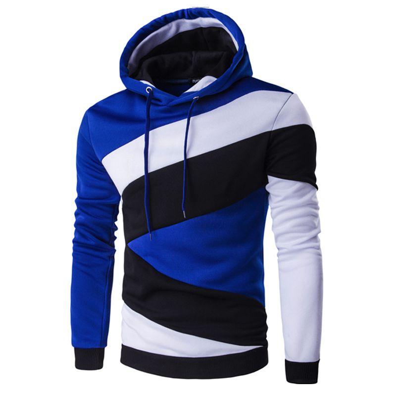 2018 Hoodies Mens Male Hip Hop Male Brand Hoodie Color Stitching Sweatshirt Men Slim Fit Men Hoody XXL E5RV