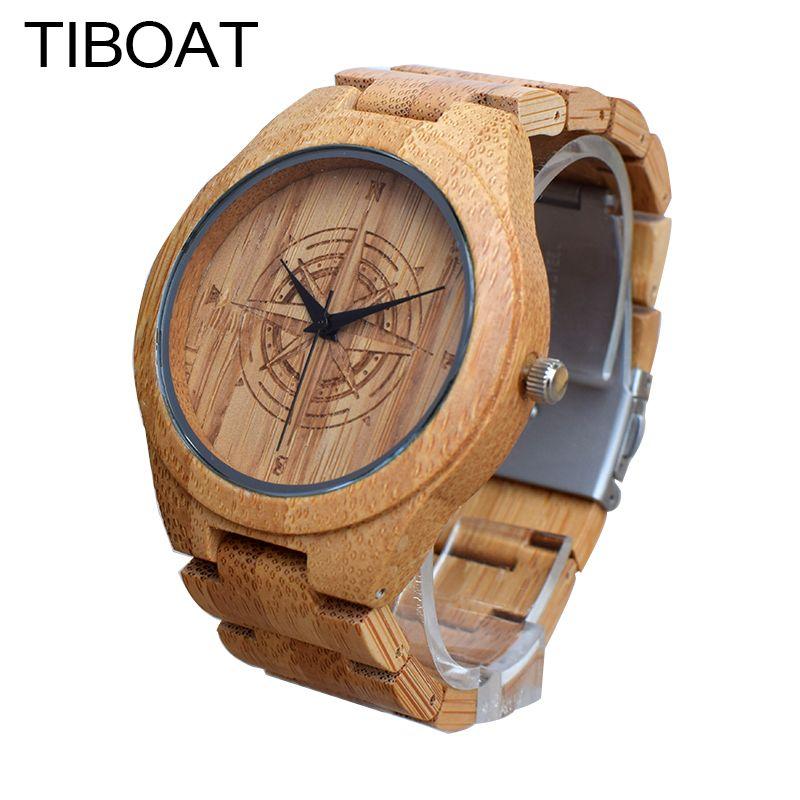 TIBOAT Creative Boussole Cadran Mens Robe Fraîche Montre De Luxe Hommes Top marque Plein Bambou Montres À Quartz Pour Le Cadeau reloj de los hombres
